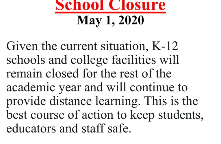 Governor Update on School Closure